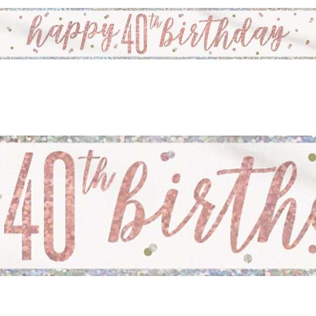 Baner 40 Urodziny - Glitz różowe złoto Unique 274cm