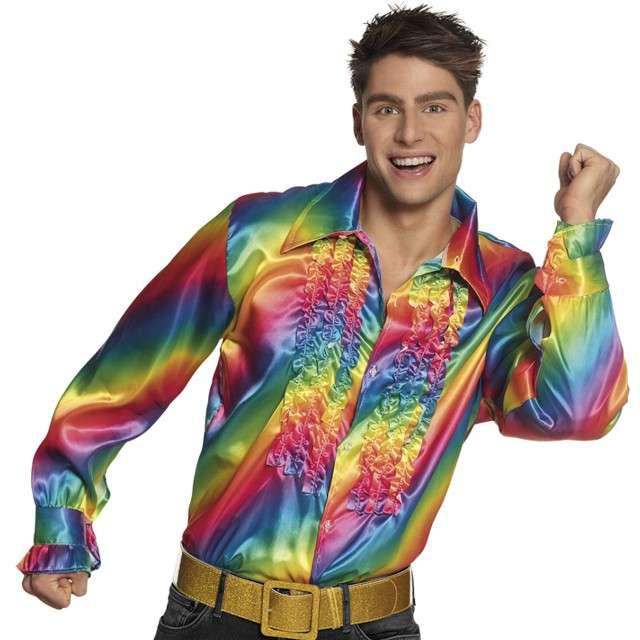 Strój dla dorosłych Koszula retro z żabotem tęczowa Boland rozm 46-48