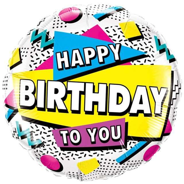 """Balon foliowy """"Happy Birthday - kolorowe kształty"""", Qualatex, 18"""", RND"""
