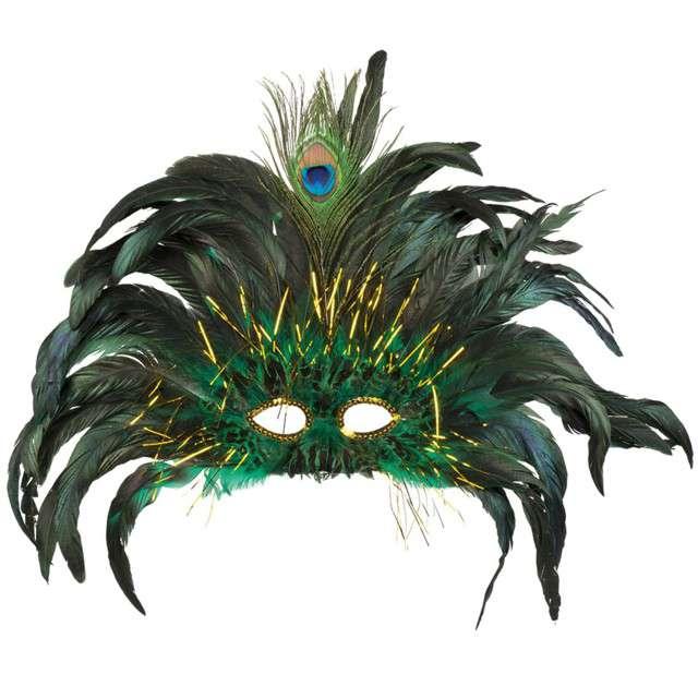 """Maska """"Wenecka - Pawie pióra, zielona, Boland"""