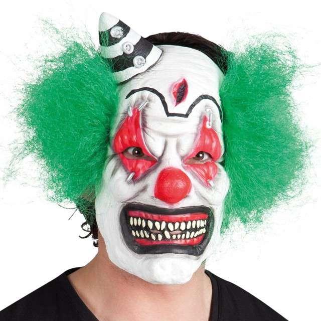 _xx_Maska lateksowa z włosami Straszny Klaun