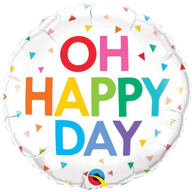 """Balon foliowy """"Oh happy day"""", Qualatex, 18"""", RND"""