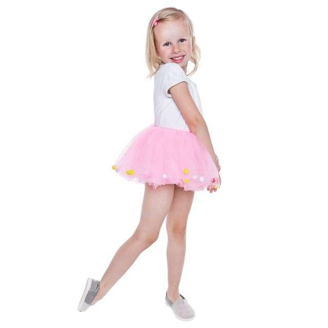 """Spódniczka tutu """"Dziecięca w żółte kropki"""", rózowa, Godan, 23 cm"""