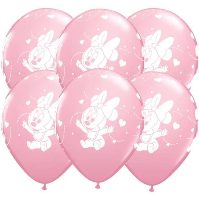 """Balony """"Baby Minnie - serduszka"""", różowy metalik, QUALATEX, 12"""", 6 szt"""