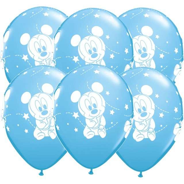 """Balony """"Baby Mickey - gwiazdki"""", niebieski metalik, QUALATEX, 12"""", 6 szt"""