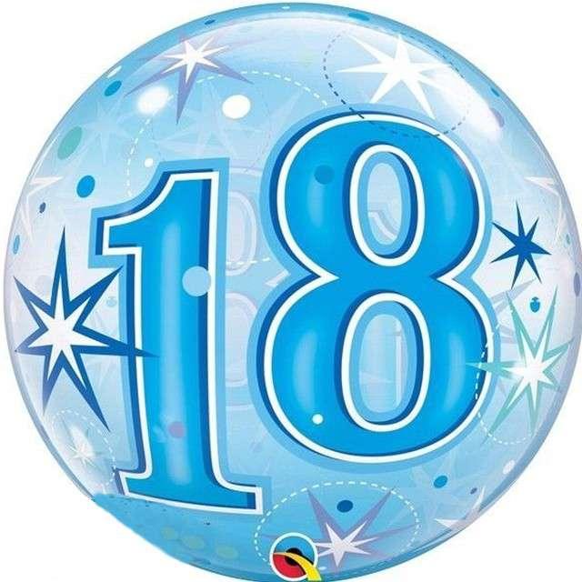 Balon foliowy 18 urodziny - gwiazdki niebieski Qualatex Bubbles 22 ORB