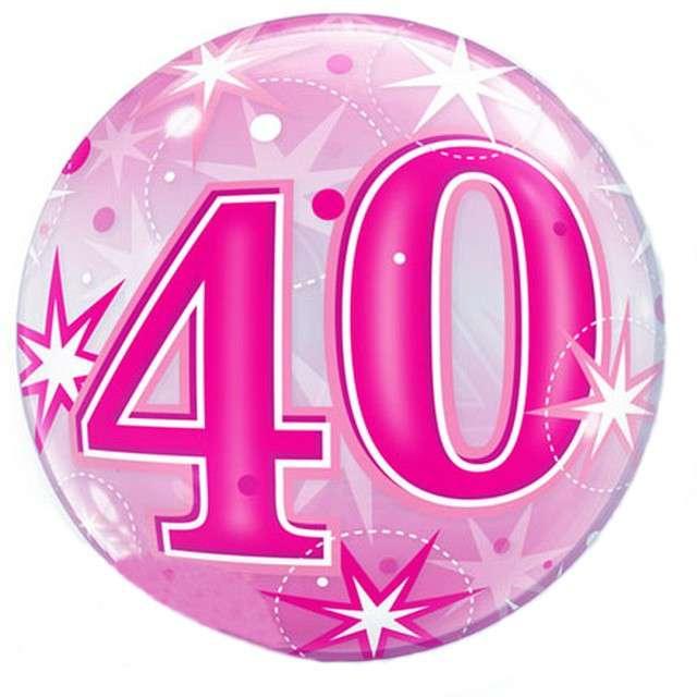 """Balon foliowy """"40 urodziny - gwiazdki"""", różowy, Qualatex Bubbles, 22"""" ORB"""