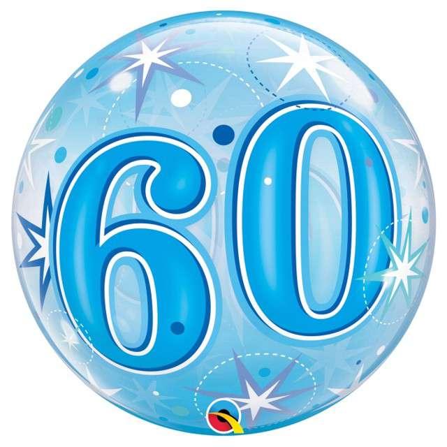 Balon foliowy 60 urodziny - gwiazdki niebieski Qualatex Bubbles 22 ORB