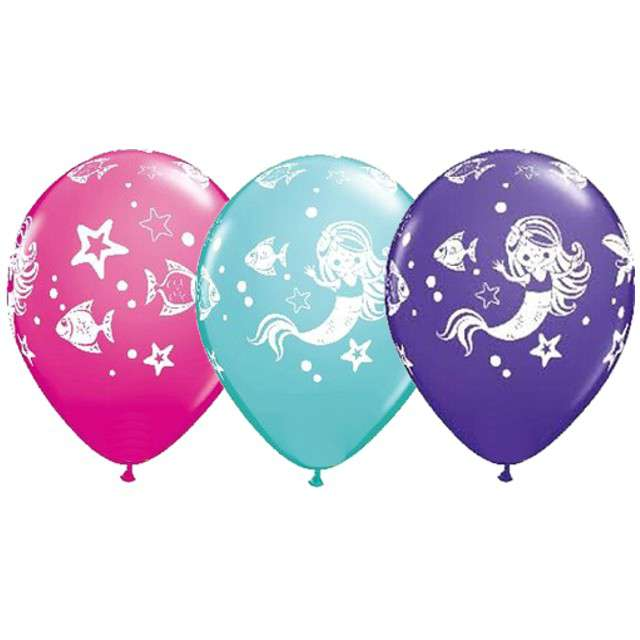 "Balony ""Merry Mermaid & Friends"" kolor, QUALATEX, 11"", 25szt."