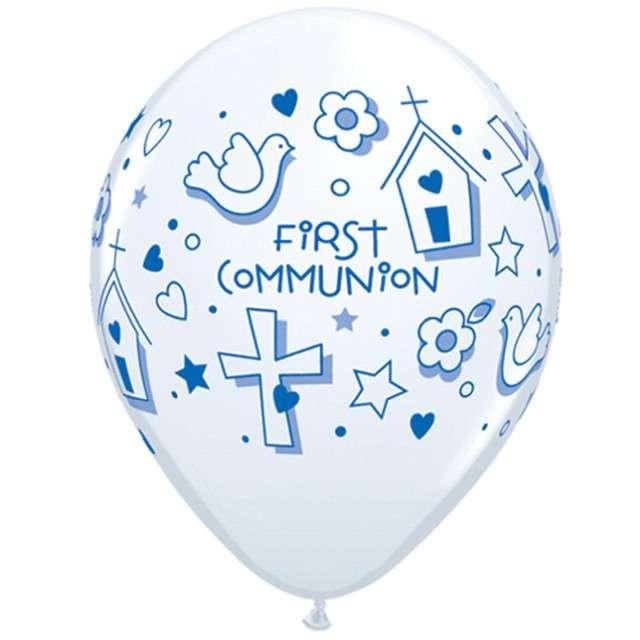 """Balony """"Komunia symbole"""", biało-niebieskie pastel, Qualatex, 11"""", 25 szt"""