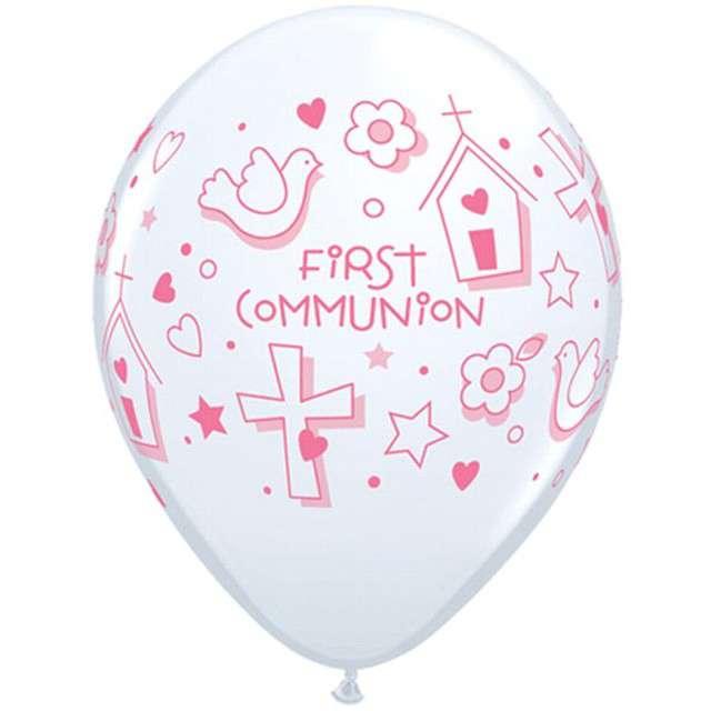 """Balony """"Komunia symbole"""", biało-różowe pastel, Qualatex, 11"""", 25 szt"""