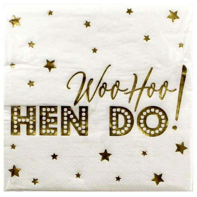 """Serwetki """"Woo Hoo Hen Do"""", biało-złote, Neviti, 33 cm, 16 szt"""
