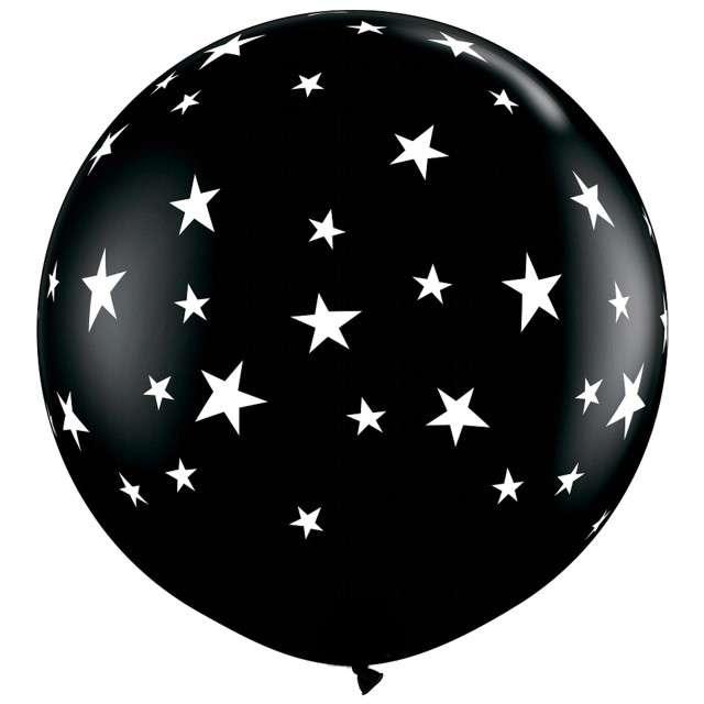 Balon Gwiazdki - Round czarny Qualatex 36 2szt