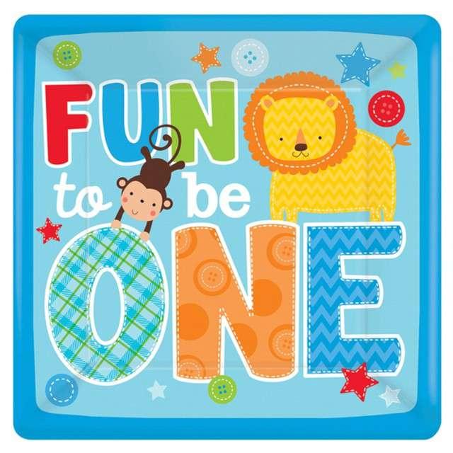 """Talerzyki papierowe """"One Wild Boy - Fun to be One"""", niebieski, Amscan, 26 cm, 8 szt"""