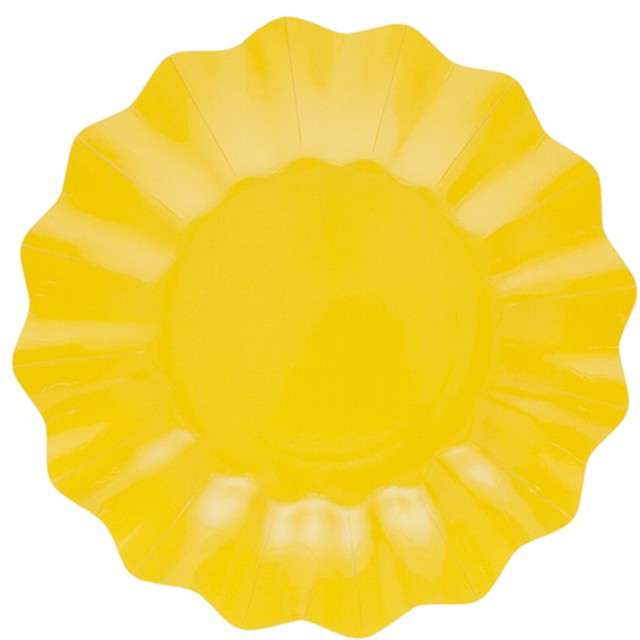 """Talerzyki papierowe """"Falowane Premium"""", żółte, Godan, 21 cm, 8 szt"""