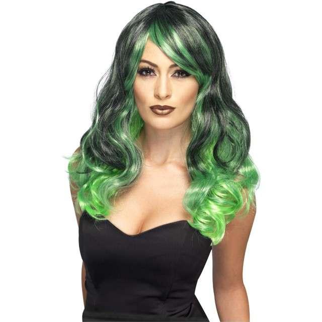 """Peruka party """"Bewitching"""", zielono-czarna, Smiffys"""