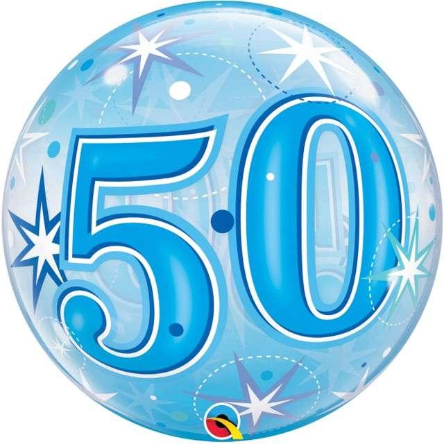 Balon foliowy 50 urodziny - gwiazdki niebieski Qualatex Bubbles 22 ORB