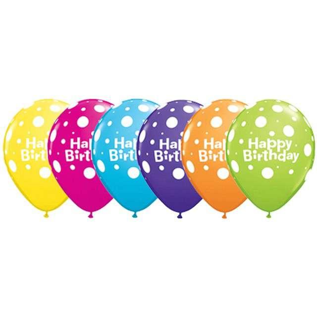 _xx_Balon QL 11 z nadr. Happy Birthday i grochy pastel mix tropikalny / 6 szt.