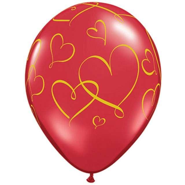 """Balony """"Serduszka"""", czerwone crystal, Qualatex, 11"""", 25 szt"""