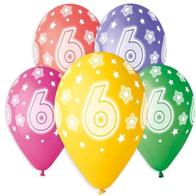 """Balony """"6 urodziny"""", 13"""", Gemar, 5 szt."""