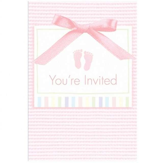 """Zaproszenia z kopertami """"Baby Shower - Youre Invited"""", różowe, Amscan, 8 szt"""