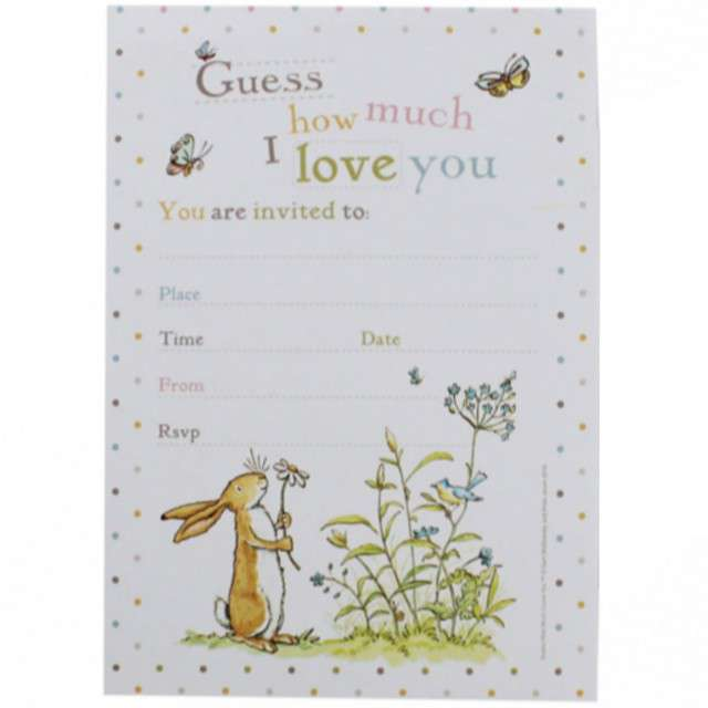 "Zaproszenia z kopertami ""Guess How much i love You"", Godan, 10 szt"