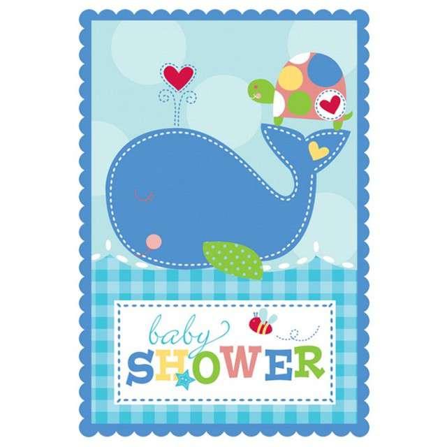 """Zaproszenia z kopertami """"Ahoy - Baby Shower"""", niebieskie, Amscan, 8 szt"""