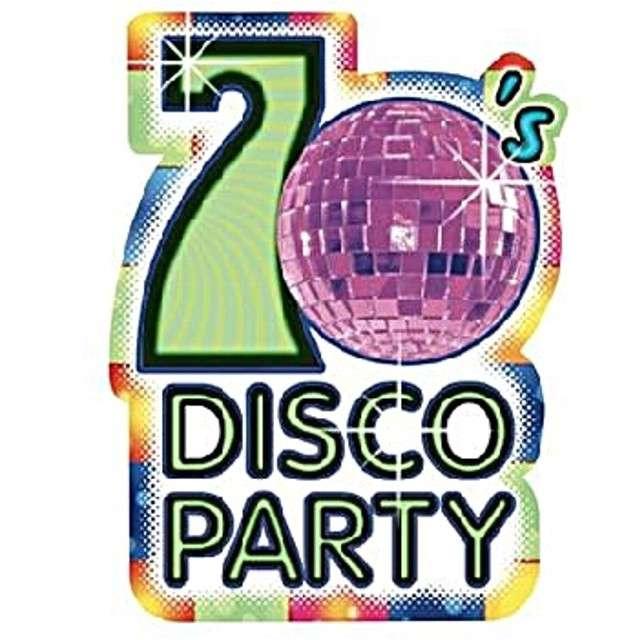 "Zaproszenia ""Disco kula - Lata 70"", Amscan, 8 szt"