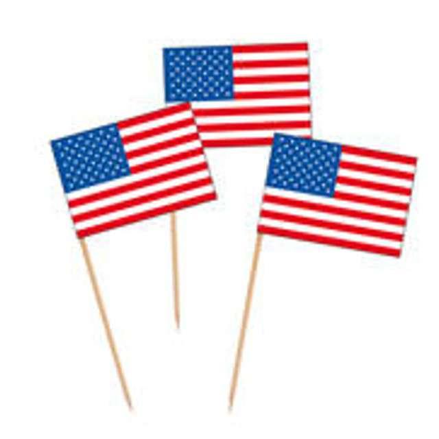 """Pikery """"Flagi USA"""", Godan, 7 cm, 24 szt"""