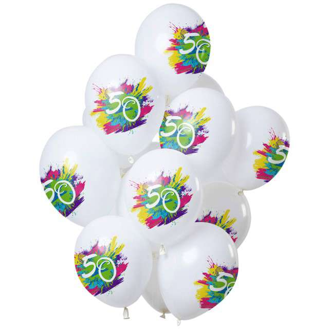"Balony ""50 Urodziny - color splash"", biały, Folat, 12"", 12 szt"