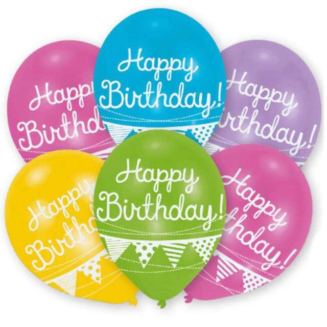 Balony Happy Birthday - Girlandy mix Amscan 11 6szt