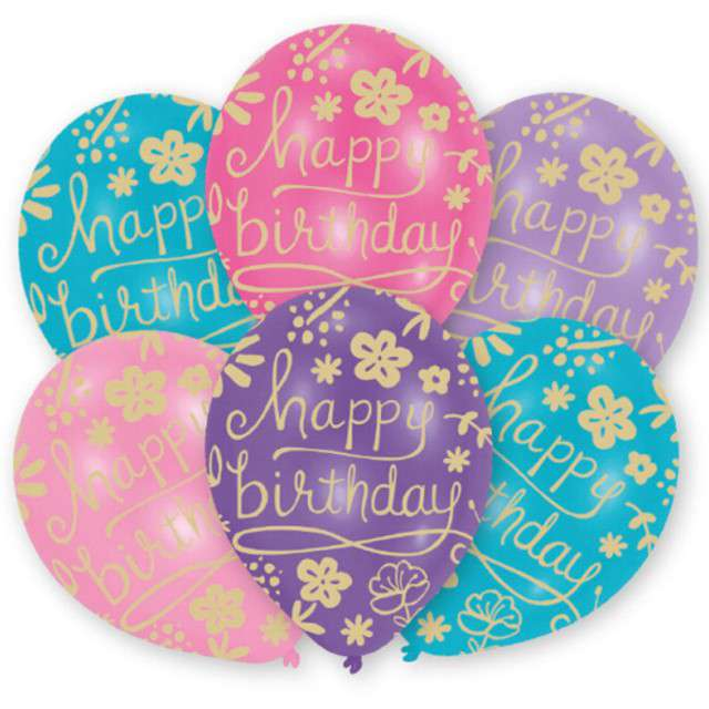 Balony Happy Birthday - Kwiatki mix Amscan 11 6 szt