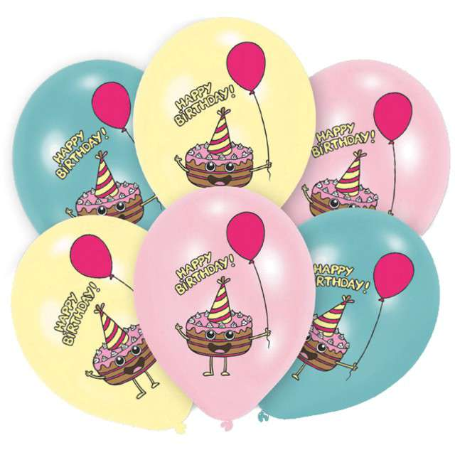 "Balony ""Happy Birthday - Torciki"", mix, Amscan, 11"", 6 szt"