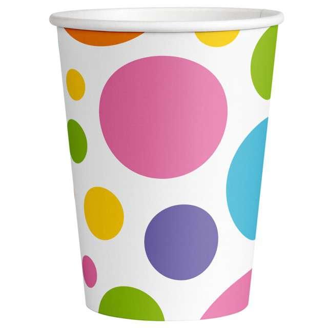 Kubeczki papierowe Kolorowe groszki Amscan 250 ml 8szt