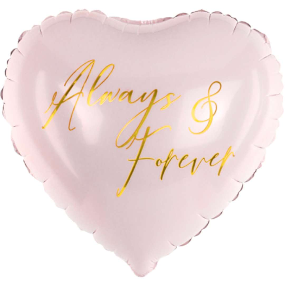 "Balon foliowy ""Serce - Always and Forever"", różowy, PartyDeco, 18"", HRT"