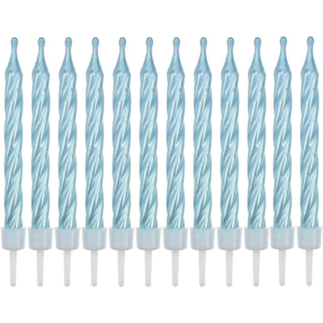 """Świeczki """"Spiralne"""", niebieskie, Godan, 6 cm, 12 szt"""