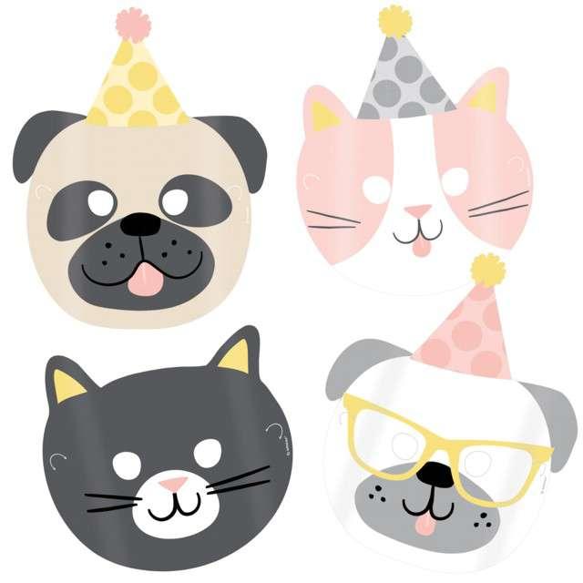 """Maski """"Psiaki i kociaki"""", papierowe, Amscan, 8 szt"""