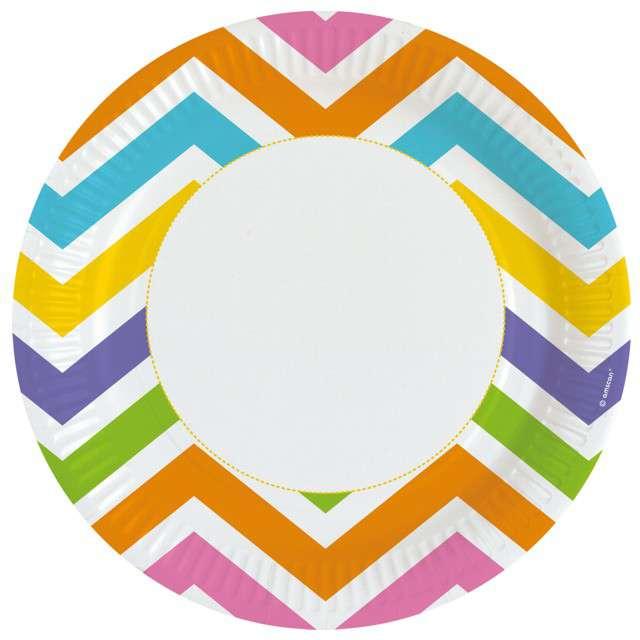 Talerzyki papierowe Zygzaki kolorowe Amscan 23 cm 8 szt