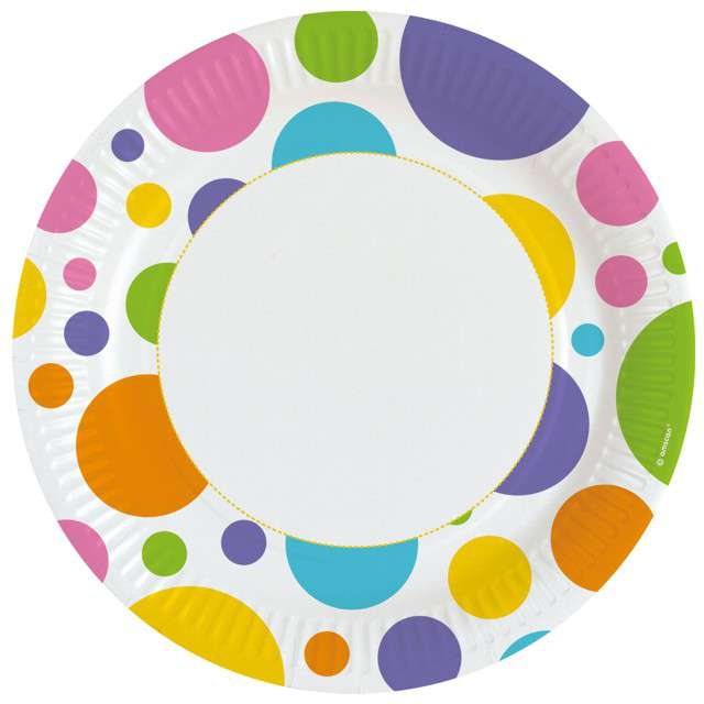 Talerzyki papierowe Kolorowe groszki Amscan 23 cm 8 szt