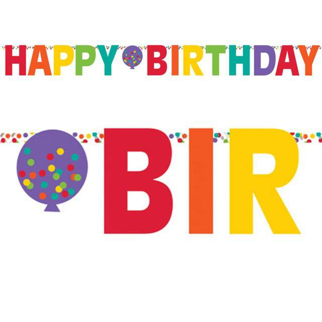 "Baner ""Happy Birthday - Baloniki"", mix, Amscan, 320 cm"