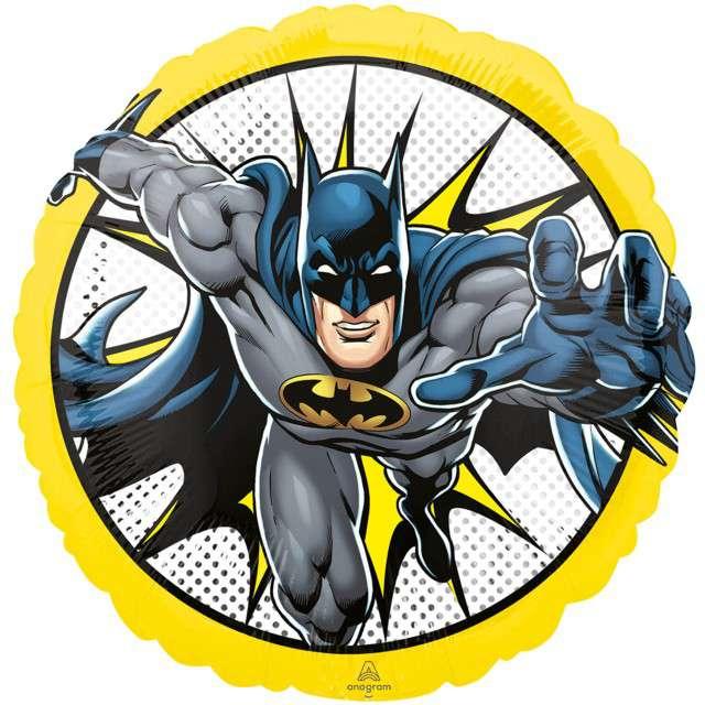 "Balon foliowy ""Batman"", żółty, Amscan, RND"