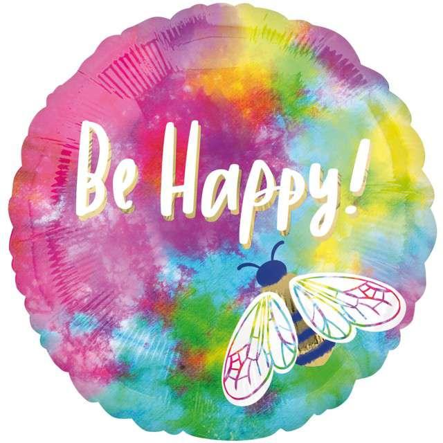 """Balon foliowy """"Be Happy"""", Amscan, 17"""" RND"""