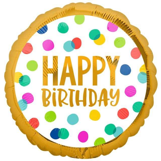 "Balon foliowy ""Happy Birthday w kropki"", Amscan, 17"" RND"