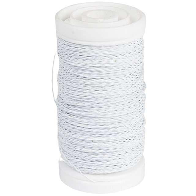 """Drucik florystyczny """"Karbowany"""", biały, Czakos, 0,35 mm, 100 m"""