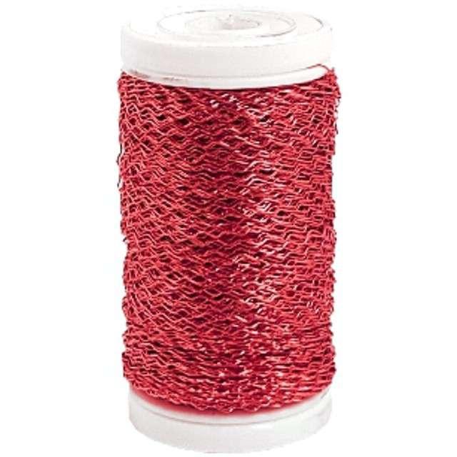 """Drucik florystyczny """"Karbowany"""", czerwony, Czakos, 0,35 mm, 100 m"""