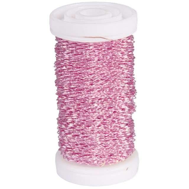 Drucik florystyczny Karbowany różowy Czakos 035 mm 100 m