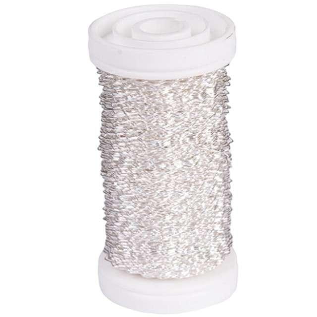 "Drucik florystyczny ""Karbowany"", srebrny, Czakos, 0,35 mm, 100 m"