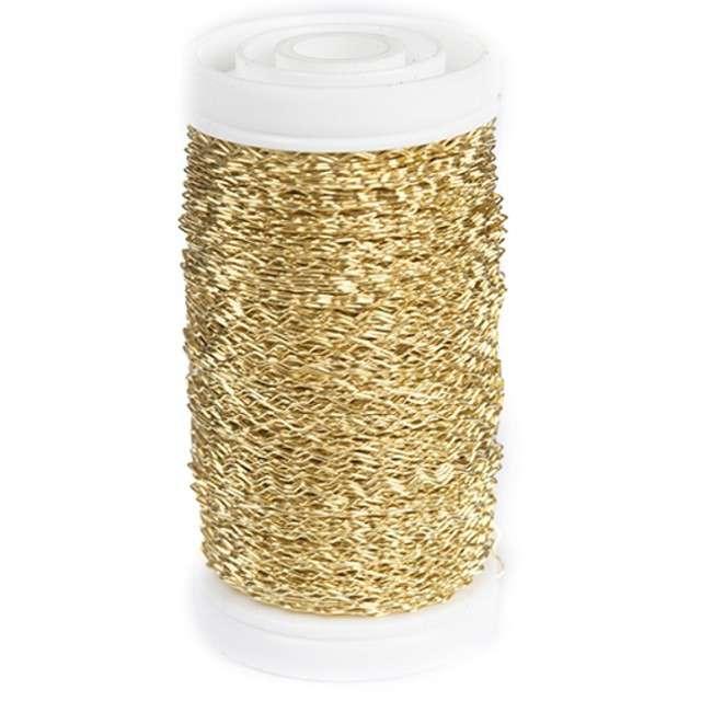 Drucik florystyczny Karbowany złoty Czakos 035 mm 100 m