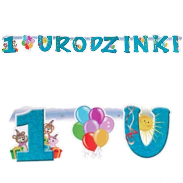 """Baner """"1 Urodzinki - Dla Chłopca"""", niebieski, Czakos,160 cm"""
