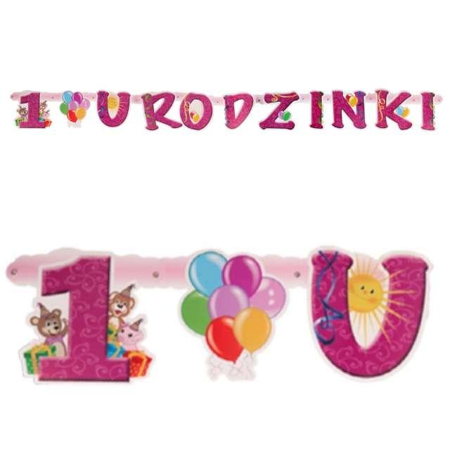 Baner 1 Urodzinki - Dla Dziewczynki różowy Czakos160cm